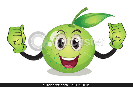 Fruit stock vector clipart, Illustration of a guava with face by Matthew Cole