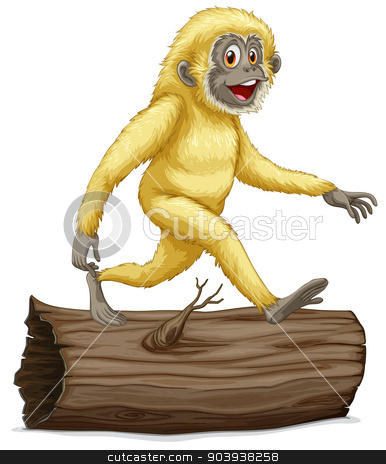Gibbon stock vector clipart, Illustration of a white gibbon on a log by Matthew Cole
