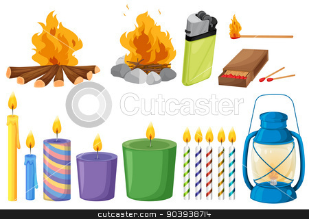 Set of things that causes fires stock vector clipart, Illustration of the set of things that causes fires on a white background by Matthew Cole