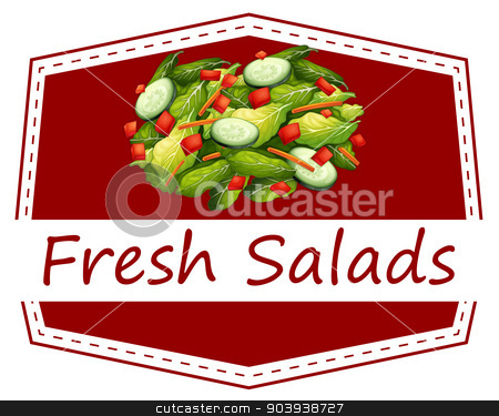 Fresh salads stock vector clipart, Illustration of a sign of fresh salad by Matthew Cole