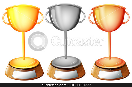 Three trophies stock vector clipart, Illustration of the three trophies on a white background by Matthew Cole