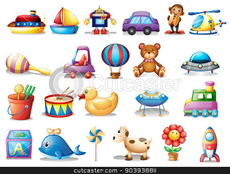 Set of different toys stock vector clipart, Illustration of the set of different toys on a white background by Matthew Cole