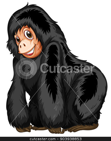 Black ape stock vector clipart, Illustration of a closeup gorilla standing by Matthew Cole