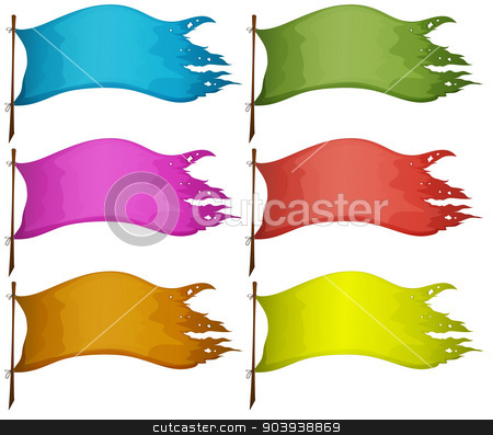 Sets of empty flags stock vector clipart, Illustration of the sets of empty flags on a white background by Matthew Cole