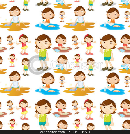 Seamless girl stock vector clipart, Illustration of a seamless girl doing chores by Matthew Cole