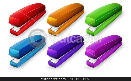 Staplers stock vector clipart, Illustration of a set of staplers by Matthew Cole