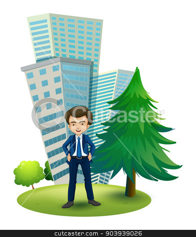 A businessman outside the office stock vector clipart, Illustration of a businessman outside the office on a white background by Matthew Cole