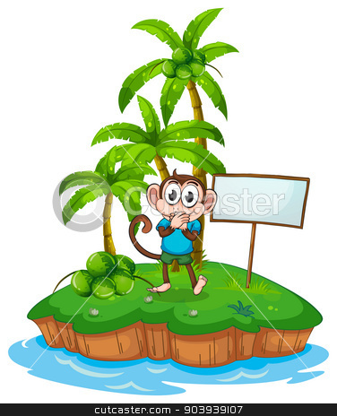 Monkey and island stock vector clipart, illustration of a monkey standing on an island by Matthew Cole