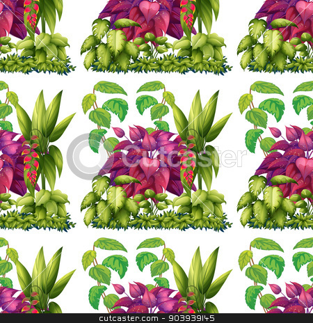 Seamless plants stock vector clipart, Illustration of a seamless plants by Matthew Cole