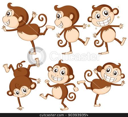 Monkey set stock vector clipart, Illustration of monkey set by Matthew Cole