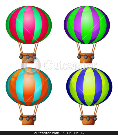 Balloons stock vector clipart, Set of 4 hot air balloons by Matthew Cole