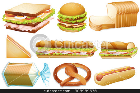 Bread set stock vector clipart, Illustration of different kind of bread by Matthew Cole