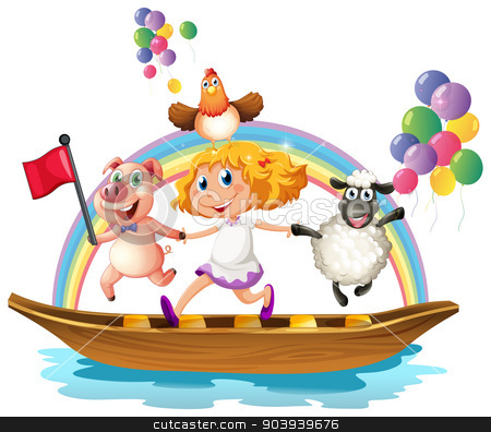 Girl and animals on boat stock vector clipart, Illustration of a girl and animals on a boat by Matthew Cole