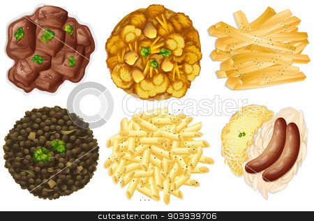 Different sets of foods stock vector clipart, Illustration of the different sets of foods on a white background by Matthew Cole