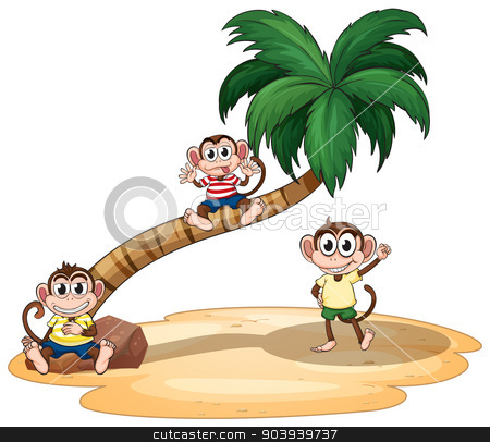 Monkeys stock vector clipart, illustration of monkeys and a tree by Matthew Cole