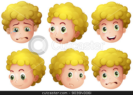 Blonde boy stock vector clipart, Illustration of a blonde boy's head by Matthew Cole