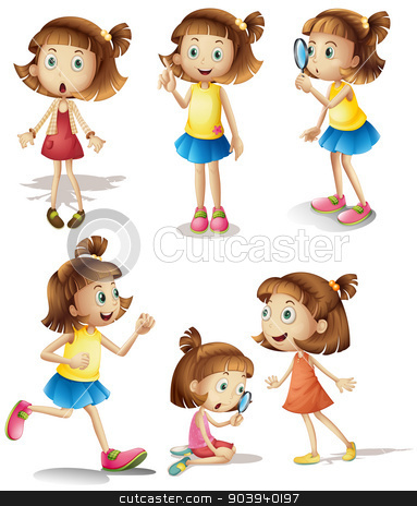 Girls actions stock vector clipart, Illustration of girls with different actions by Matthew Cole