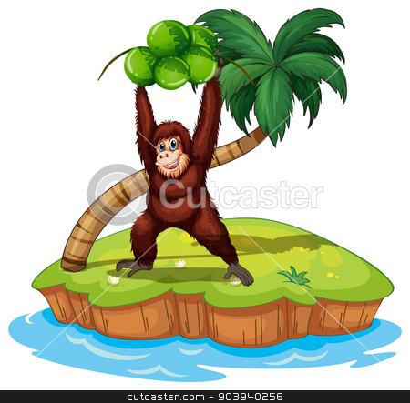 Orangutan stock vector clipart, illustration of an orangutan standing on an island by Matthew Cole