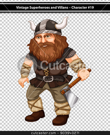 Viking stock vector clipart, illustration of a male viking with an axe by Matthew Cole