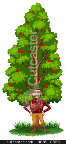 A lumberjack under the tree stock vector clipart, Illustration of a lumberjack under the tree on a white background by Matthew Cole