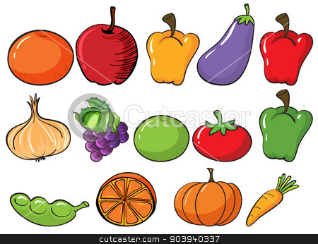 Healthy fruits and vegetables stock vector clipart, Illustration of the healthy fruits and vegetables on a white background by Matthew Cole