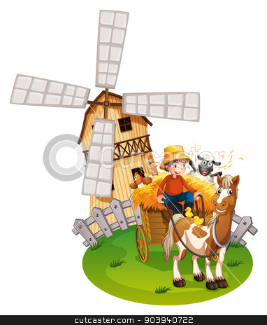 Farm boy stock vector clipart, Illustration of a farmboy with windmill by Matthew Cole
