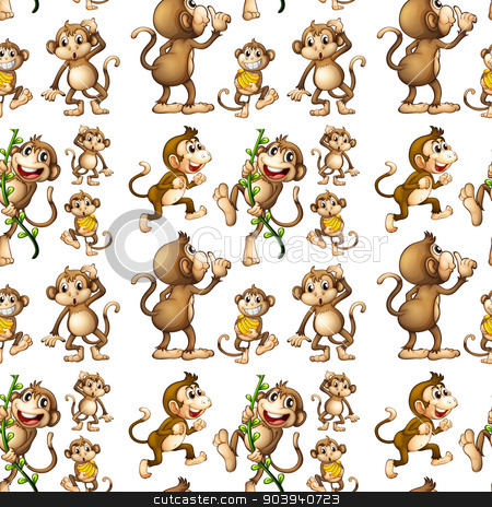 Seamless monkey stock vector clipart, Illustration of a seamless monkey with bananas by Matthew Cole