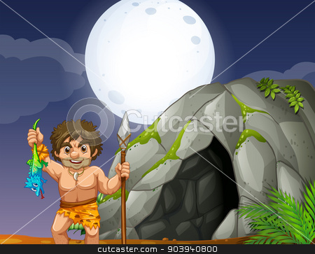 Cave and caveman stock vector clipart, Illustration of a caveman and a cave by Matthew Cole