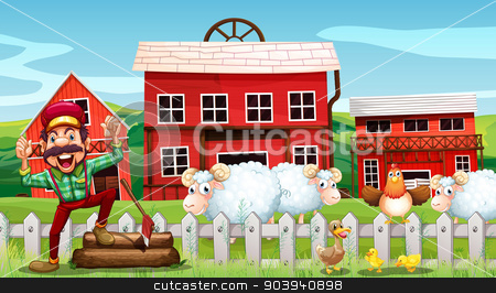 Lumberjack and barns stock vector clipart, Illustration of a lumberjack and barns by Matthew Cole