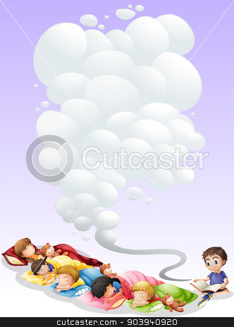 Children taking nap stock vector clipart, Illustration of children are taking a nap by Matthew Cole