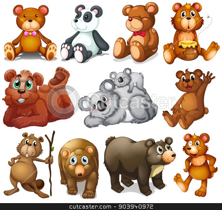 Huggable teddy bears stock vector clipart, Illustration of the huggable teddy bears on a white background by Matthew Cole