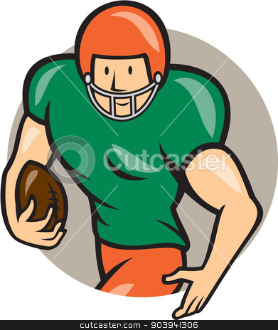 American Football Running Back Circle Cartoon stock vector clipart, Illustration of an american football gridiron player running back with ball facing side set inside circle on isolated background done in cartoon style.  by patrimonio