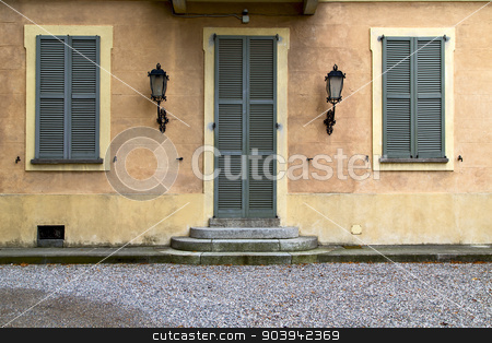 brown door  europe  italy  lombardy       in  the milano  stret  stock photo, brown  europe  italy  lombardy        in  the milano old   window closed brick      abstract grate    door by mason luca