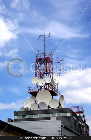 Antenna  stock photo, The equipment on a tower provides all kinds of communication on many kilometers  by kolyvanov
