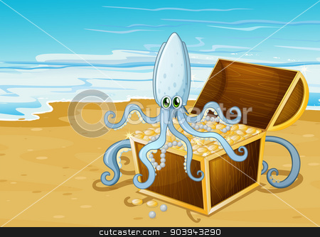 A beach with a treasure box with an octopus stock vector clipart, Illustration of a beach with a treasure box with an octopus by Matthew Cole