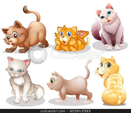Playful cats stock vector clipart, Illustration of the playful cats on a white background by Matthew Cole