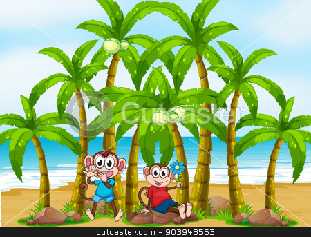 Two monkeys at the beach near the coconut trees stock vector clipart, Illustration of the two monkeys at the beach near the coconut trees by Matthew Cole