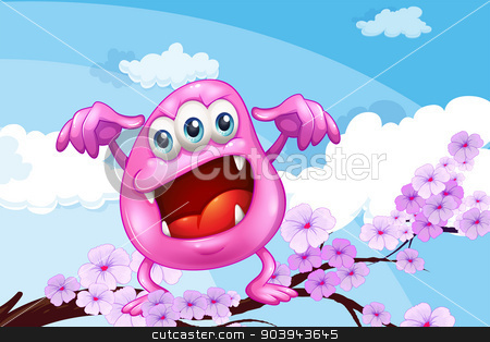 A pink beanie monster above the branch of a tree stock vector clipart, Illustration of a pink beanie monster above the branch of a tree by Matthew Cole