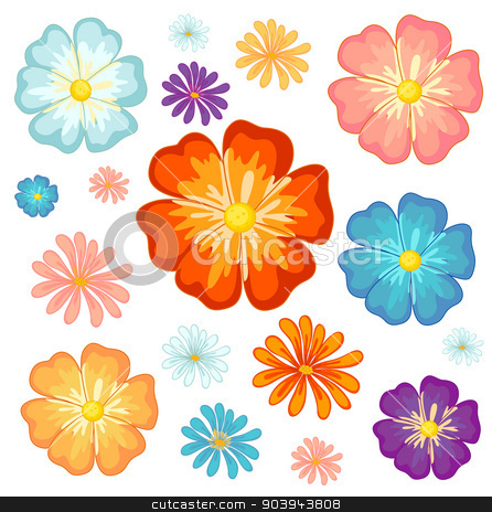 Big and small flowers stock vector clipart, Illustration of the big and small flowers on a white background by Matthew Cole