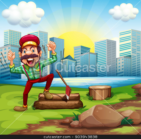 A man chopping the woods at the riverbank across the buildings stock vector clipart, Illustration of a man chopping the woods at the riverbank across the buildings by Matthew Cole