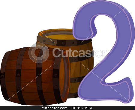 Two wooden barrels stock vector clipart, Illustration of the two wooden barrels on a white background by Matthew Cole