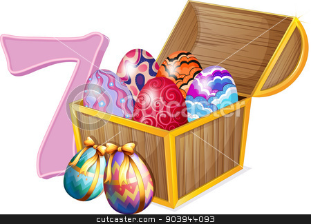 Seven Easter eggs stock vector clipart, Illustration of the seven Easter eggs on a white background by Matthew Cole