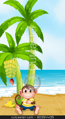 A monkey resting under the banana plant at the beach stock vector clipart, Illustration of a monkey resting under the banana plant at the beach by Matthew Cole