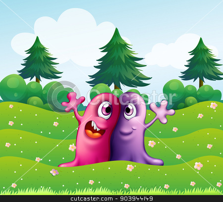 Two adorable one-eyed monsters near the pine trees stock vector clipart, Illustration of the two adorable one-eyed monsters near the pine trees by Matthew Cole