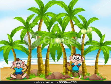 A beach with tall coconut trees and playful monkeys stock vector clipart, Illustration of a beach with tall coconut trees and playful monkeys by Matthew Cole