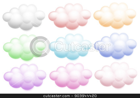 Colourful clouds stock vector clipart, Illustration of the colourful clouds on a white background by Matthew Cole