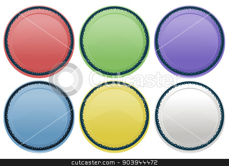Colourful plates stock vector clipart, Illustration of the colourful plates on a white background by Matthew Cole