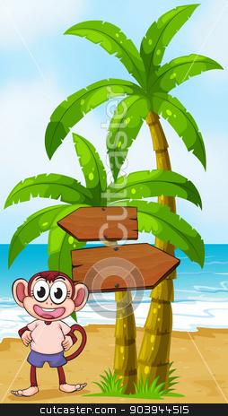 A beach with a monkey near the arrow signages stock vector clipart, Illustration of a beach with a monkey near the arrow signages by Matthew Cole