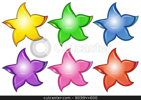 Three colorful stars stock vector clipart, Illustration of the three colorful stars on a white background by Matthew Cole