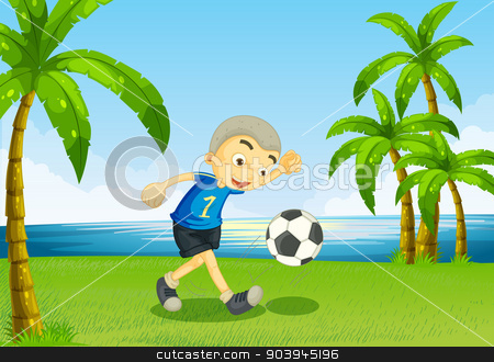 A young soccer player at the riverside with palm trees stock vector clipart, Illustration of a young soccer player at the riverside with palm trees by Matthew Cole